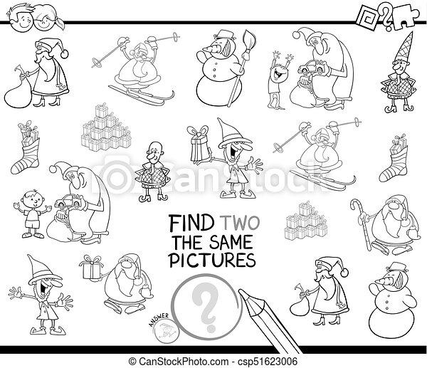 Farbe, zwei, gleich, weihnachten, buch, charaktere, finden ...