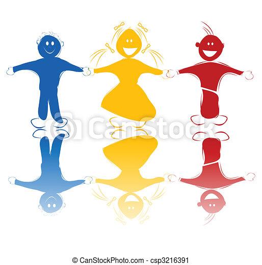 Farben, kinder, glücklich. Kinder, aus, silhouetten, hintergrund ...