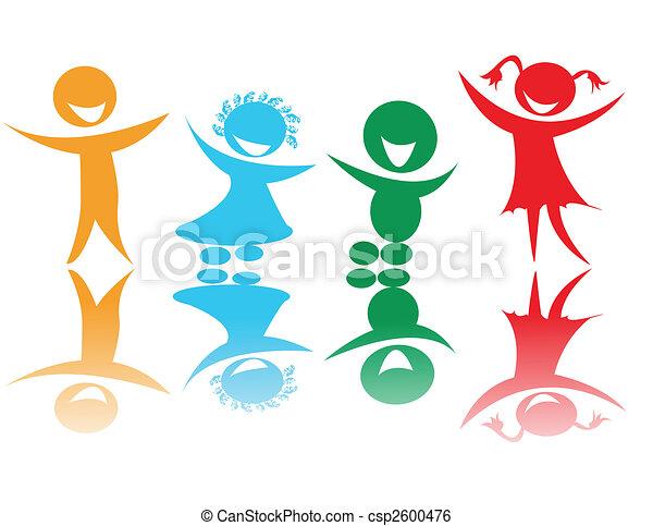 Farben, kinder, glücklich. Glücklich, vektor, kunst, kinder ...