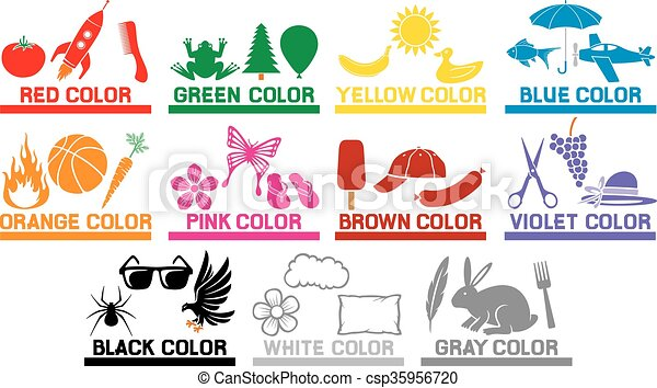 Farben, kinder, lernen. Kinder, farben, gegenstände,... Vektor ...