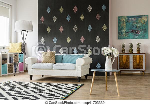 Farben, Lebensunterhalt, Modernes Zimmer, Pastell