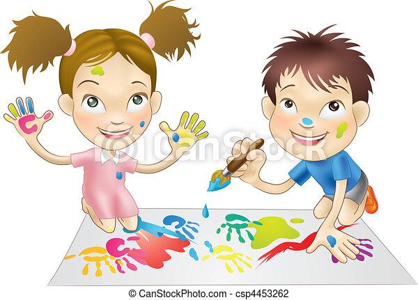 Farben, spielende kinder, junger, zwei. Farben, junger,... Vektor ...