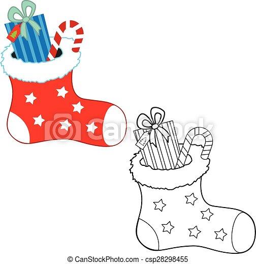 Farbton- buch, weihnachten, gifts. Färbung, book., vektor, abbildung ...