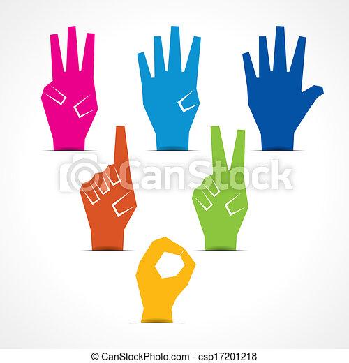 fare, cinque, numero zero, mani - csp17201218