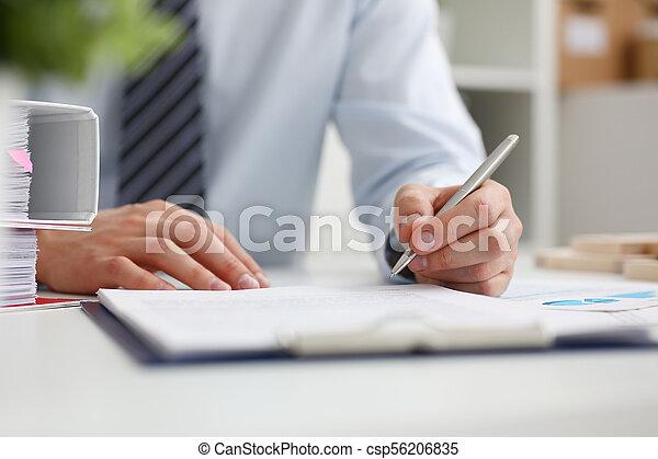 fare, mano, nota, penna, presa a terra, pronto, maschio, argento - csp56206835