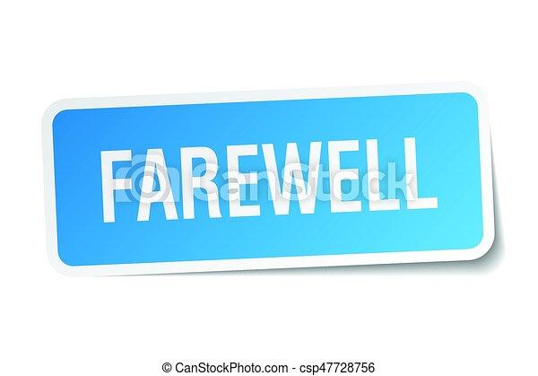 farewell square sticker on white - csp47728756