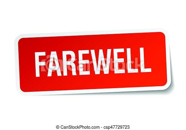 farewell square sticker on white - csp47729723