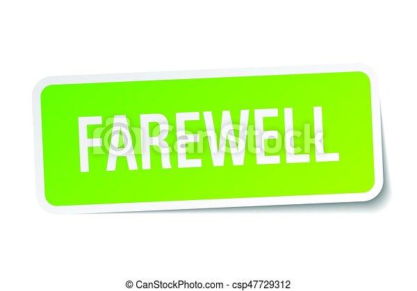 farewell square sticker on white - csp47729312