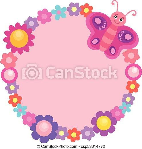 farfalla, 1, cornice, fiore, rotondo - csp53014772