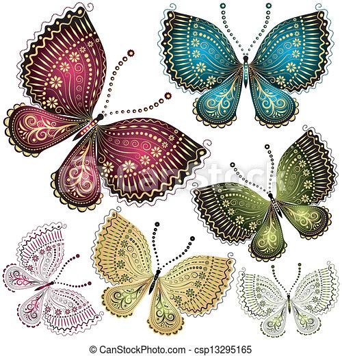 farfalla, fantasia, set, vendemmia - csp13295165