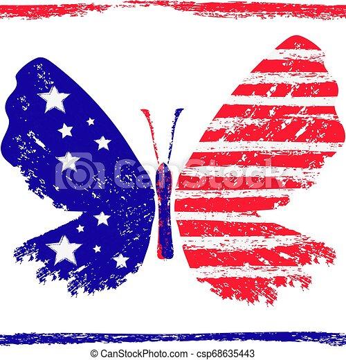 farfalla, grunge, tricolore, zebrato, luminoso, stelle, red-blue-white - csp68635443