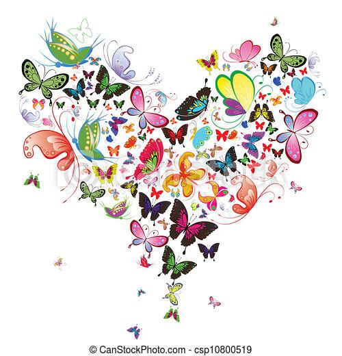 farfalla, illustration., cuore, valentina, disegnare elemento - csp10800519