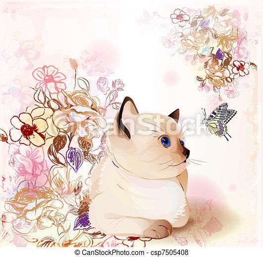 farfalla, osservare, augurio, acquarello, compleanno, retro, gattino, tailandese, style., scheda - csp7505408