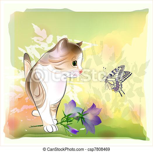 farfalla, poco, osservare, augurio, acquarello, compleanno, retro, gattino, style., scheda - csp7808469