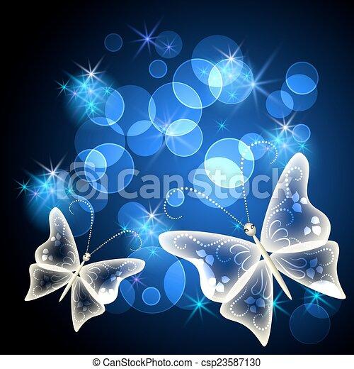 farfalla, trasparente, stelle - csp23587130