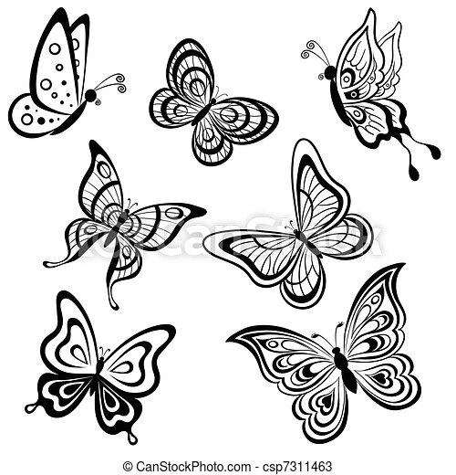 Symbolical Set Farfalle Contorni Fondo Monocromatico Bianco