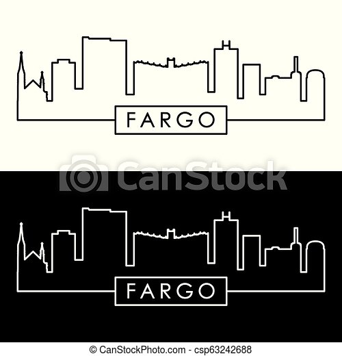 Fargo Skyline. Estilo lineal colorido. - csp63242688