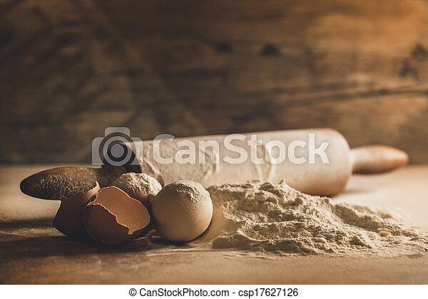 farinha, ovos, assando, lar - csp17627126