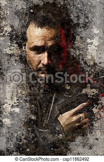 farlig, bakgrund, artistisk, strukturerad, stående, beväpnat, rånare - csp11862492