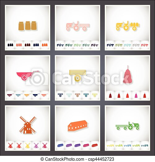 Farm. A set of flat stickers with shadow on white background - csp44452723