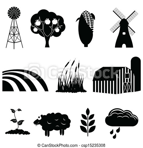 Farm and agriculture icons - csp15235308