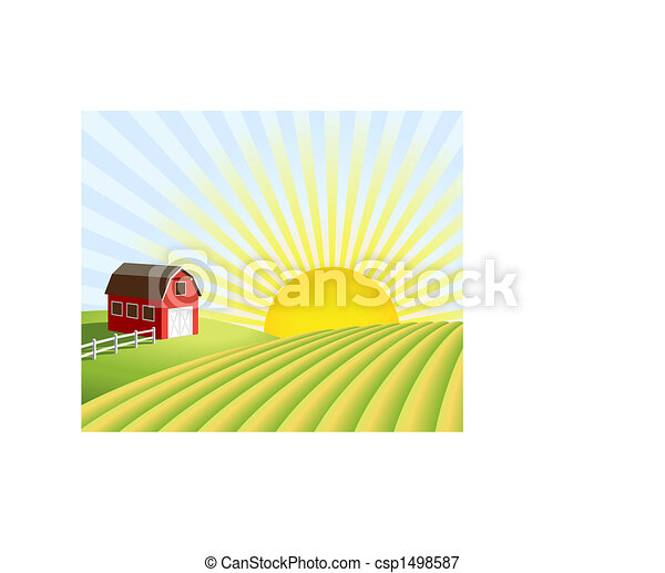 Farm and fields at sunrise - csp1498587