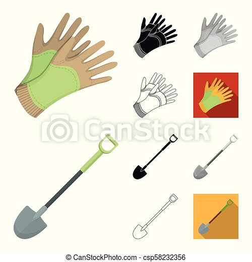 Farm and gardening cartoon, black, flat, monochrome, outline icons in set collection for design. Farm and equipment vector symbol stock web illustration. - csp58232356