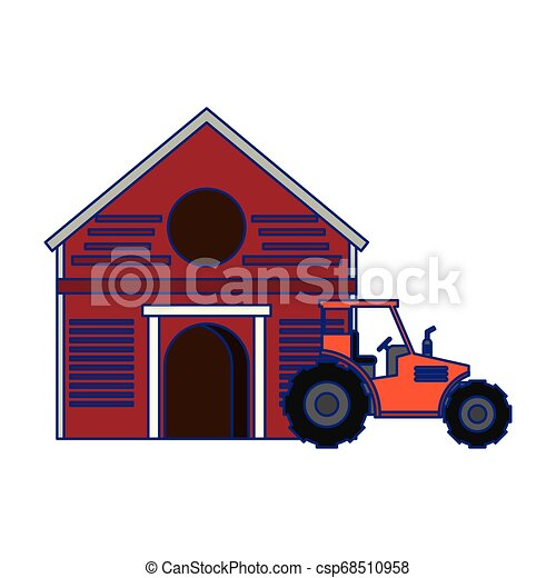 Farm and tractor vehicle isolated blue lines - csp68510958