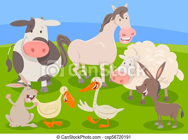 farm animal characters group cartoon - csp56720191