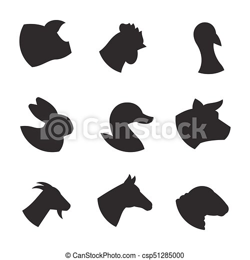 Farm Animal Icons Black On A White Background