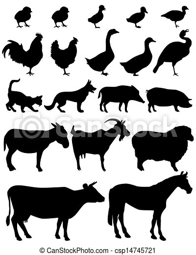 Farm Animal Vector Silhouettes Of Animals Living On The Farm With