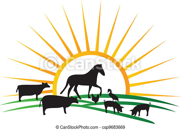 farm animal silhouettes sun vector farm animal silhouettes eps rh canstockphoto com Free Commercial Vector Free Farm Pictures