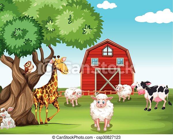 Farm animals and wild animals - csp30827123