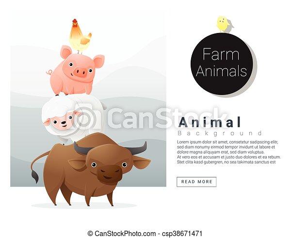 Farm animals background - csp38671471