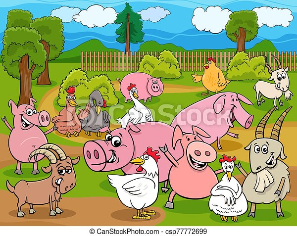 farm animals cartoon characters group - csp77772699