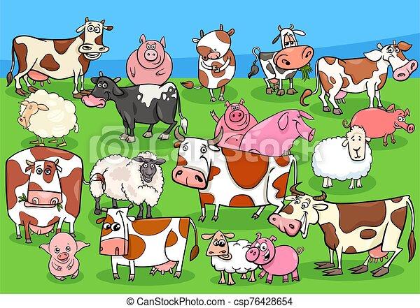 farm animals cartoon characters group on meadow - csp76428654