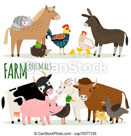 Farm animals cartoon characters - csp70377105