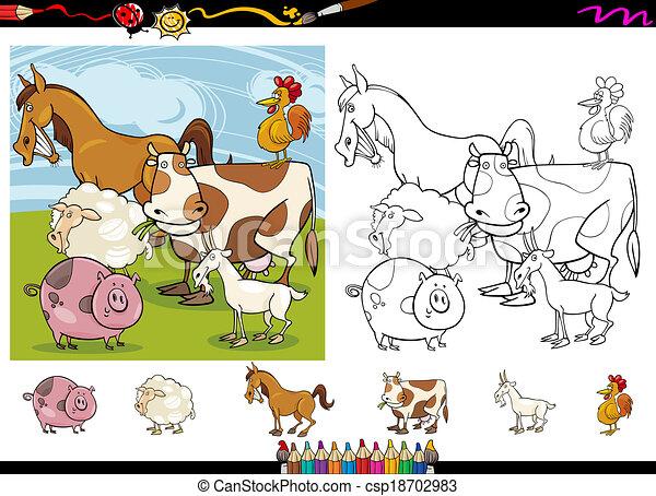 farm animals cartoon coloring page set - csp18702983