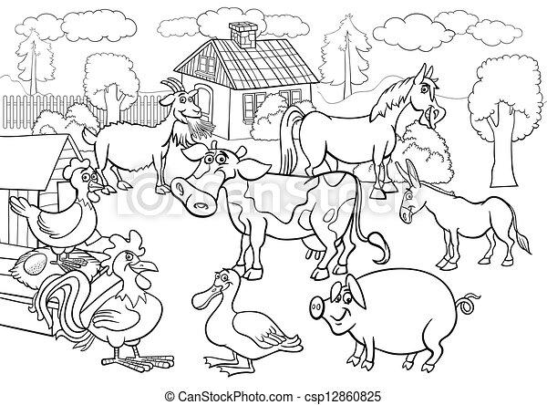 farm animals cartoon for coloring book - csp12860825