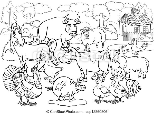 Vector Clipart of farm animals cartoon for coloring book - Black ...