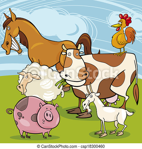 farm animals cartoon group - csp18300460