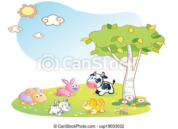 farm animals cartoon with garden - csp19033032