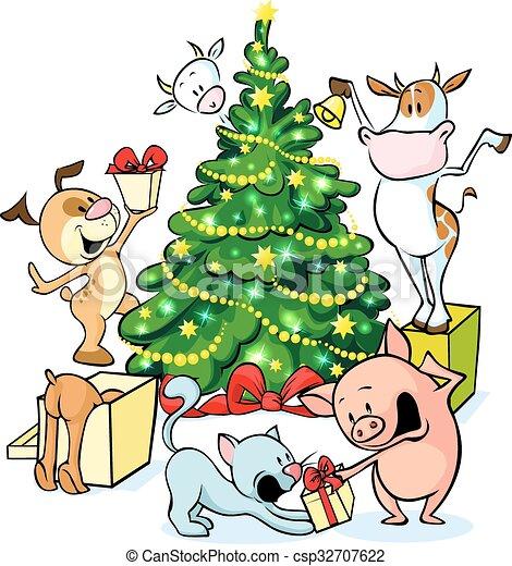 farm animals celebrate christmas under the tree vector. Black Bedroom Furniture Sets. Home Design Ideas
