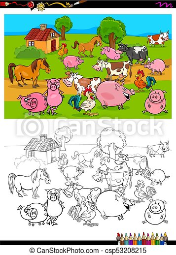 farm animals characters group coloring book - csp53208215