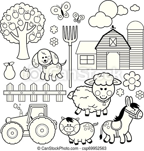 Barnyard Animal Coloring Pages in 2020 | Farm animal coloring ... | 470x445