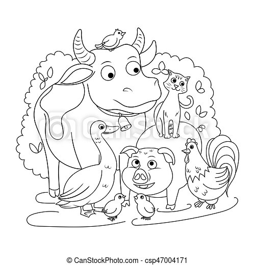Farm animals coloring book for children vector illustration ...