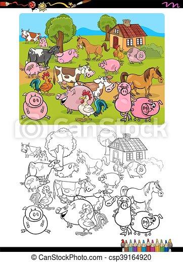 farm animals coloring page - csp39164920