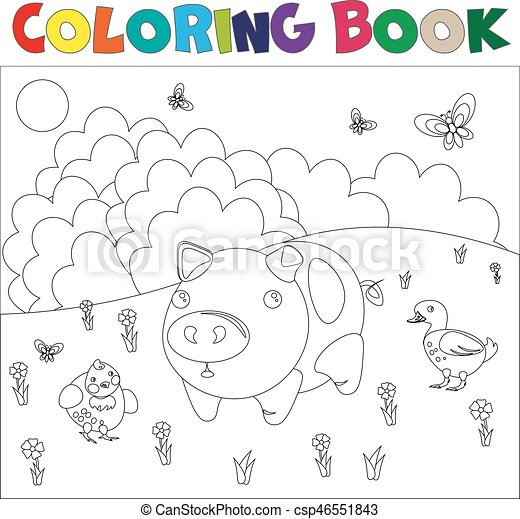 Farm animals for coloring book - csp46551843