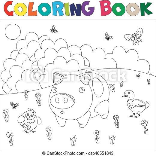 Farm animals for coloring book - csp46551843