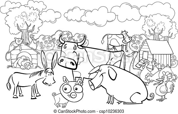 Image of: Cartoon Farm Animals For Coloring Book Csp10236303 Can Stock Photo Farm Animals For Coloring Book Cartoon Illustration Of Farm Animals